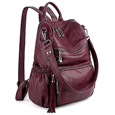 UTO Women Backpack Purse PU Washed Leather Convertible Ladies Rucksack Tassel Zipper Pocket Shoulder Bag Pure Red