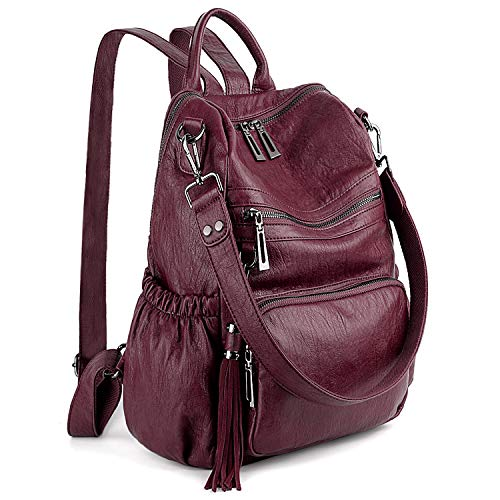 UTO Women PU Leather Backpack Ladies Shoulder Bag 3 Ways Rucksack Handle Shoulder Strap Multi Compartment Sturdy Zipper Anti Theft Pocket Tassels Decoration Wine Red