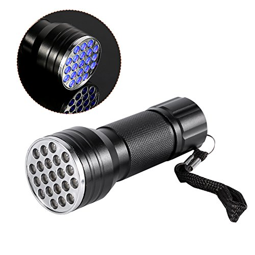 Linterna UV 21 LED ultravioleta luz negra con 3 pilas AAA linterna UV luz negra para mascotas Detector de manchas perro orina gato orina y cama.