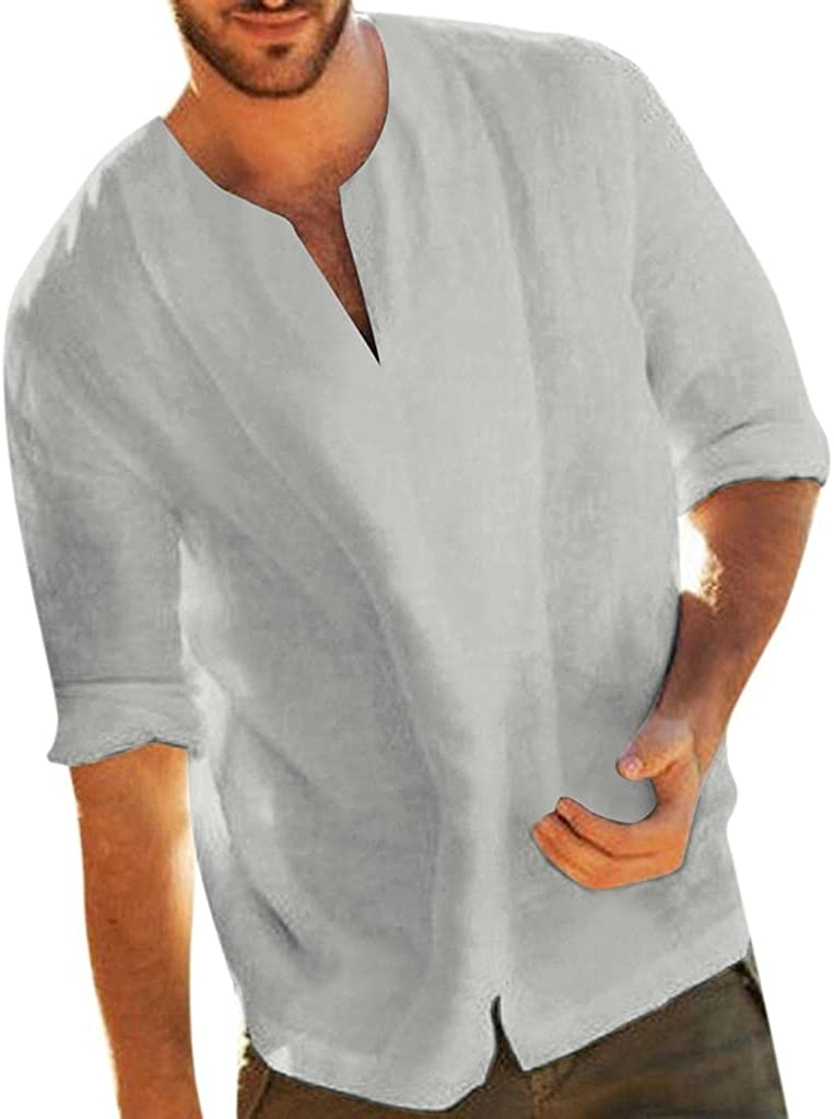 Mens Cotton Shirts Classic Fit 3/4 Long Sleeve V-Neck Pullover Tops Soft Comfy Hippie T Shirt Loose Yoga Blouse