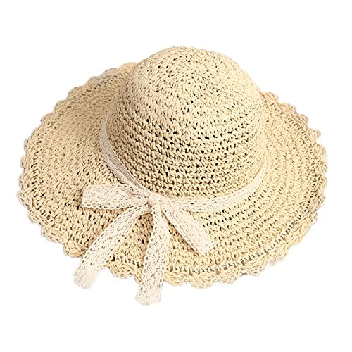 AfinderDE Sommer Strohhut Damenhut Faltbarer Fischerhut Sonnenhut Strandhut Sommerhut Frauen Anti-UV Hut Outdoor breite Krempe Mütze