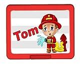 TTS Brotdose Feuerwehrmann PERSONALISIERT Lunchbox Brotbüchse Butterbrotdose für Kinder mit Namen viele Farben viele Motive