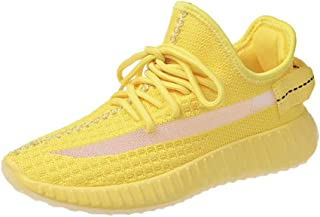 Women's Casual Shoes Mesh Comfortable Walking Shoes - Tennis Athletic Casual Slip on Sneakers,Yellow,38
