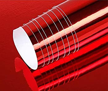 DIYAH High Gloss Red Chrome Mirror Vinyl Car Wrap Sticker with Air Release Bubble Free Anti-Wrinkle  36  x 60  / 3FT x 5FT