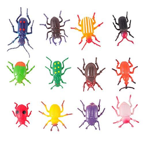 NUOBESTY Juego de 12 figuras de escarabajo falsas de escarabajo de plástico realista, colecciones, juguete educativo de ciencia