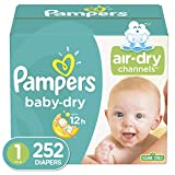 Diapers Newborn / Size 1 (252 Count) (8-14 lb), Pampers Baby Dry Disposable Baby Diapers, ONE MONTH SUPPLY