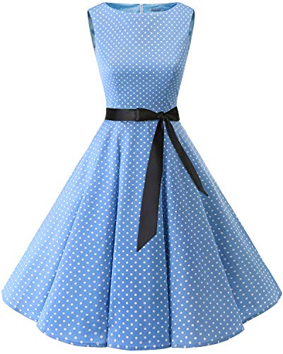 Bbonlinedress 50s Retro Schwingen Vintage Rockabilly Kleid Cocktail Faltenrock Blue Small White Dot L
