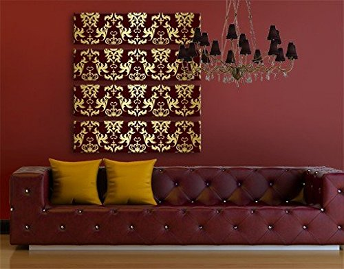 Leinwandbild The 12 Muses Thalia Quattro Schnörkel Ranken Barock Art Deco Edel, Leinwand, Leinwandbild XXL, Leinwanddruck, Wandbild