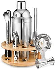 750 ml Cocktail Shaker Set, 12 Stuk RVS Bar Tools Gift Set met Roterende Stand, Barman Kit met Jigger, Muddle, Zeeven en Recepten voor Home Bar Coctail Making