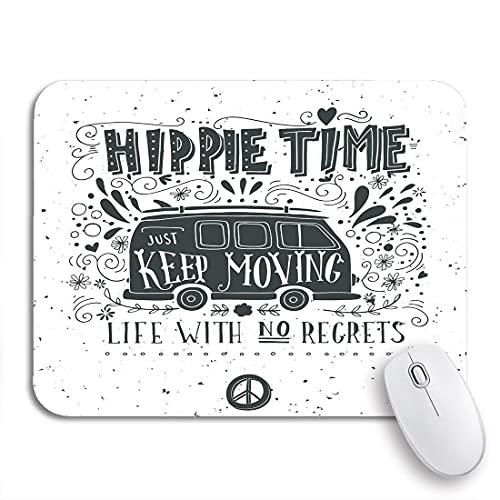 Alfombrilla de ratón para Juegos Vintage Hippie Time Mini Van y Letras Vida sin Respaldo de Goma Antideslizante Alfombrilla de ratón para portátiles Alfombrillas de ratón
