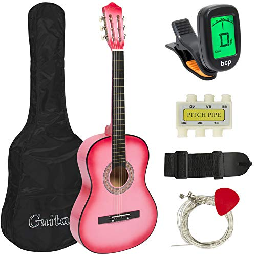 Price comparison product image Best Choice Products 38in Beginner Acoustic Guitar Starter Kit w / Case,  Strap,  Digital E-Tuner,  Pick,  Pitch Pipe,  Strings - Pink