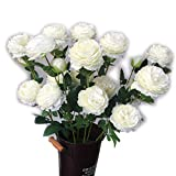 BAIVIN Fleur Artificielle Pivoine Faux Arrangement de Fleurs en Soie Fleur Bouquet de Mariage Salon décoration 10 bâtons, White