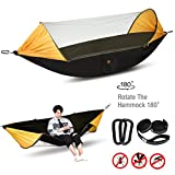 Lisuu Camping Hammock,2 Person Camping Hammock with Mosquito Net,for Indoor,Outdoor, Hiking, Camping, Backpacking, Travel, Backyard, Beach (Black)