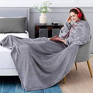 Bedsure Batamanta Polar Mujer Hombre Sofa - Manta con Mangas y Bolsillo para Pies de TV,Blanket Hoodie Suave y Acogedor,Gris,170x200cm