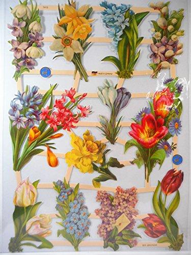 Glanzbilder Blume Blumen EF 7413 Oblaten Posiebilder Scrapbook Deko GWI 347