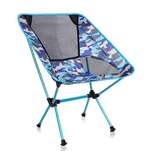 Plegables Silla de Camping Portátil Plegable Silla de Playa Multifuncional con Bolsa de Transporte Carga hasta 150 KG para Senderismo Viaje 53 x 35 x 67 cm Acampar (Color : Blue)