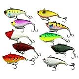 Jacqu, 10 esche per immersioni in 3D, per pesci e pesci che attirano l'esca lipless Swimbait Crankbait 10 g/6 cm