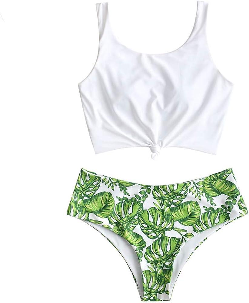 ZAFUL Women's Knotted Bikini Swimsuit Thong String Tankini Bathing Suit