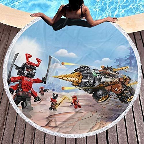 Ninja-Go - Toalla de playa redonda de microfibra grande, toalla redonda de playa, toalla de playa, toalla de playa redonda de secado rápido, toalla de playa redonda de gran tamaño