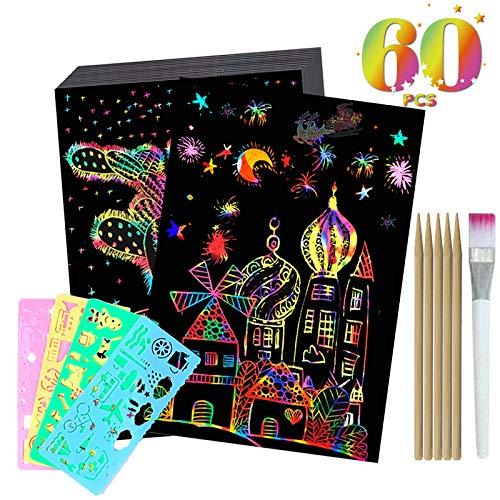 WINMIU Scratch Art for Kids - 60 Pcs Rainbow Magic Scratch Paper Art Set Include 50-Sheets Black Scratch Off Paper...