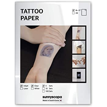 "Sunnyscopa Printable Temporary Tattoo Paper for INKJET printer - US LETTER SIZE 8.5""X11"", 5 SHEETS - DIY Personalized Image Transfer Sheet for skin - Custom Waterslide Decal Stencil Henna"