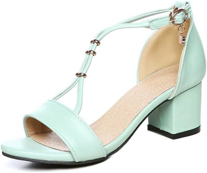 Smilice Women Plus Size shoes Fashion Open Toe Mid Block Heel Sandals