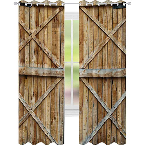 Noise Reducing Window Drapes, Traditional Wooden Timber Door with Vertical and Cross Planks Farmhouse Antique Photo, W52 x L63 Blackout Curtain for Living Room, Brown