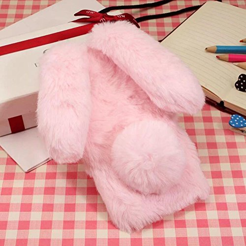 Jesiya for iPhone Xs Fur Rabbit Case,for iPhone X Case, Luxury Cute Toy Warm Handmade Bunny Furry Soft Rabbit Fur Hair Plush Ultra Thin Soft TPU Case for iPhone Xs/X