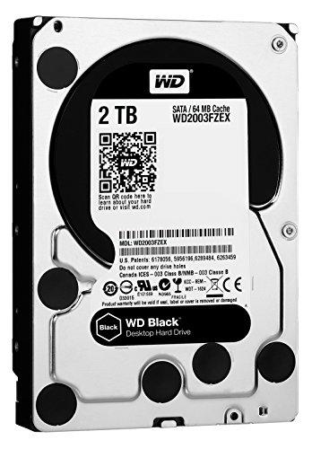 Western Digital 2TB WD Black Performance Internal Hard Drive HDD - 7200 RPM, SATA 6 Gb/s, 64 MB Cache, 3.5' - WD2003FZEX