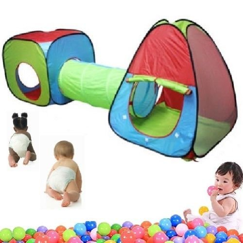 HYGRAD  3 in 1 Childrens Physical Exciting Kids Baby Play Tent Tunnel Playhouse Set Pop Up Outdoor Indoor
