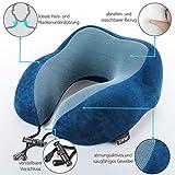 SilverRack Memory Foam Reise Nackenkissen (blau) als Nackenhörnchen - Flugzeug Kissen für erholsames und entspanntes Reisen - Praktisches Travel Pillow Reisekissen für Kinder und Erwachsene - 4