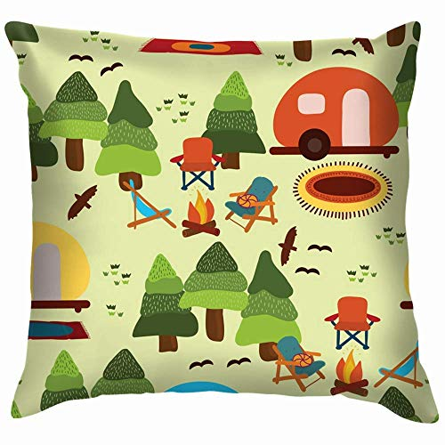 DJNGN Decorate Pillowcase,Sofa Cushion Case,Luxurious Throw Pillow Cover,Premium Square Pillow,Car Pillow Cushion Cover,Camping Scene Caravan Chairs Fire Parks Outdoor Camp Soft