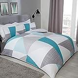 Sleepdown Splice-Juego edredón y Funda de Almohada para Cama Individual (135 x 200 cm), diseño geométrico, Polialgodón, Verde Azulado, Suelto