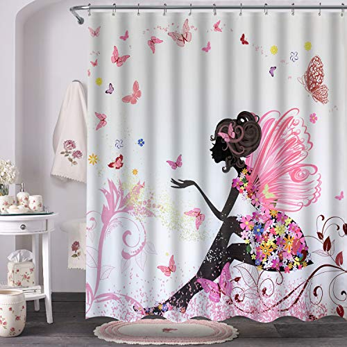 VVA Fabric Shower Curtain with Hooks for Bathroom, Fairy Girl with Wings in a Floral Dress Fantasy Garden Flying Butterflies,Pink, White, Waterproof,Machine Washable,Breathable,72x72 inches