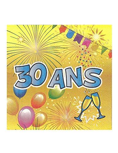 Generique - 20 Serviettes en Papier 30 Ans Anniversaire Fiesta 33 cm