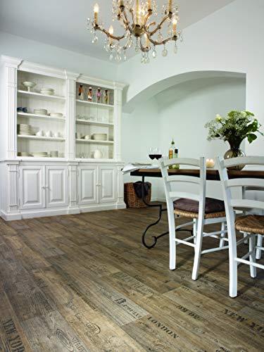 PVC Bodenbelag mit Schriftzügen, dunkelbraun (9,95€/m²), Zuschnitt (2m breit, 1m lang)