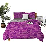 DRAGON VINES Four Set Series Bedding Pixel Art Design Squares Lannel Bed Sheets Queen Green Pink Quilt Cover W85 xL85