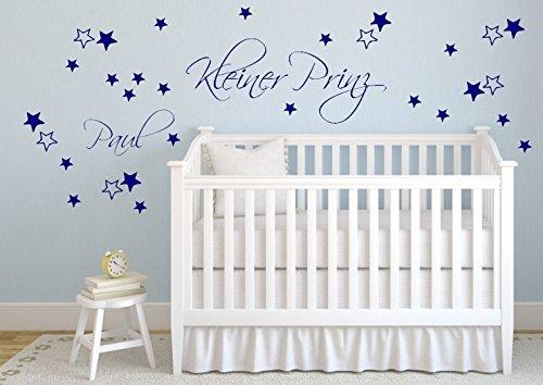 Petit prince étoiles 30 nom et prénom de bébé b405 sticker mural, Plastique, bleu, Kleiner Prinz: ca. 68x31, Name: ca. 30cm, Sterne unterschiedlicher Größe