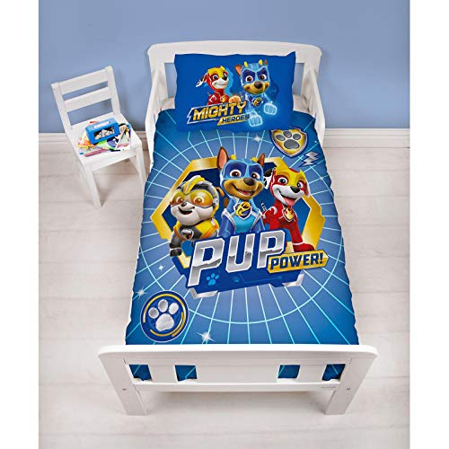 Character World Official Paw Patrol Junior Toddler Cot Bed Duvet Cover | Blue Super Pups Design | Children's Kids Bedding Set & Pillowcase