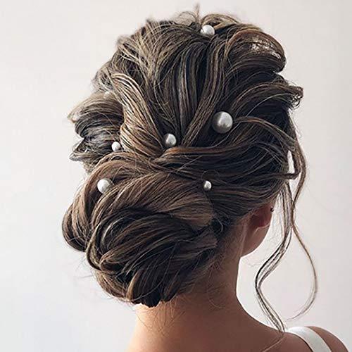 Unicra Hochzeit Perlen Haarnadeln Brautschmuck Hochzeit Haarschmuck Zubehör für Braut (6 Stück) (Silber)
