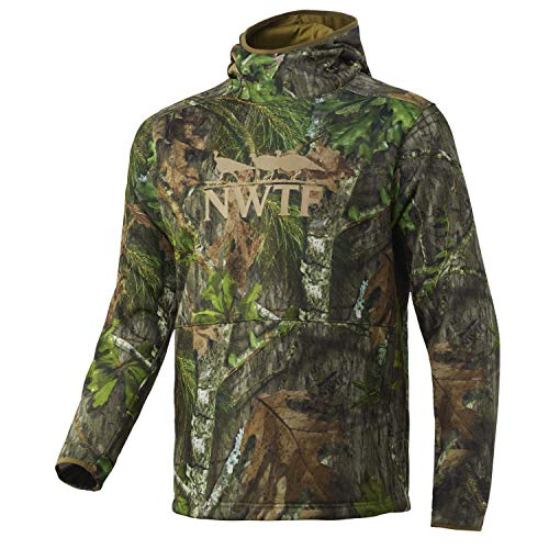 Nomad Mens Nwtf Hoodie | Mid-Weight Water Resistant Hunting Fleece, Mossy Oak Obsession, X-Large