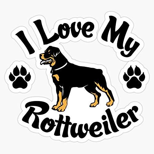 I Love My Rottweiler Or Rottie Tee Vinyl Waterproof Sticker Decal Car Laptop Wall Window Bumper Sticker 5'