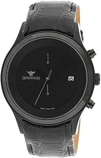Spectrum Men's Black Leather Dress Watch