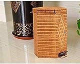 WWWXD Botes de Basura Ronda Papelera de residuos de bambú ratán Papelera Pedal Ideas Moda Baño Bote de Basura Grande Cubierto