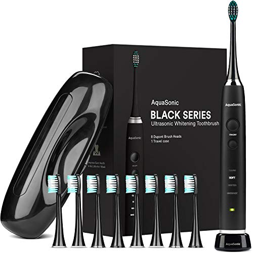 AquaSonic Black Series Ultra Whitening Toothbrush – 8 DuPont Brush Heads & Travel Case Included