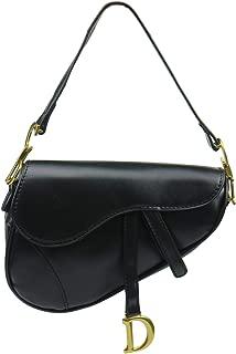 Ladies Designer Crossbody Purses Handbags with Wide Shoulder Strap Trendy D-shape Leather Saddle Bags for Fashion Girls