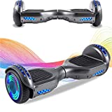 HappyBoard Hoverboard 6.5'' Patinete Eléctrico Bluetooth Monopatín Scooter autobalanceado, Ruedas de Skate con luz LED, Motor Bluetooth de 700W para niños y Adultos (Negro)