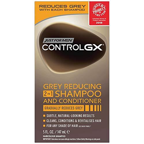Just For Men Control GX Grey Champú y acondicionador 2 en 1 para el cabello, 5 oz (paquete de 2)