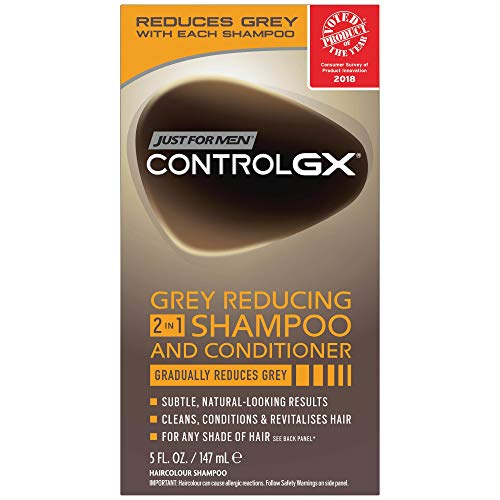 Just For Men Control Gx 2-In-1 5 Ounce Shampoo+Conditioner Grey Boxed (147ml) (2 Pack)
