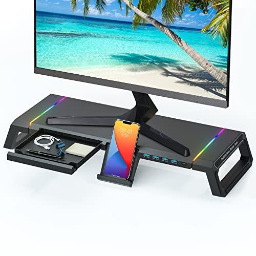 TopMate RGB - Soporte elevador para monitor de ordenador (plegable, USB 3.0, con cajón, para pantallas de hasta 27 pulgadas, iMac, portátil, impresora), color negro